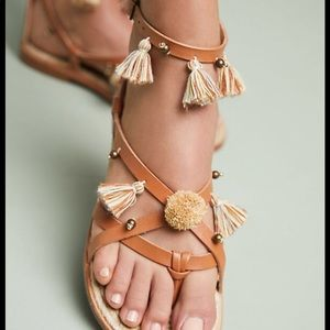 Soludos x Anthropologie Leather Tasseled Sandals